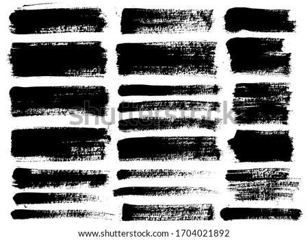 Brush strokes. Vector paintbrushes set. Grunge design elements. Rectangle text boxes, speech bubbles. Dirty distress texture banners. Ink splatters. Grungy painted texture.