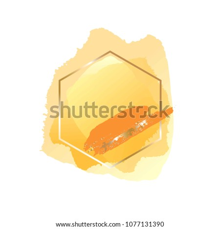 Brush strokes yellow and orange tones and gold hexagonal frame. Abstract vector background.