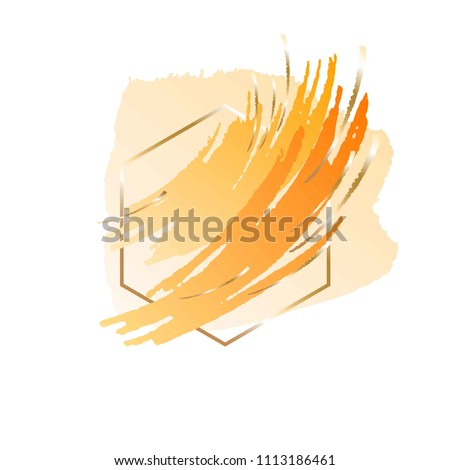 Brush strokes yellow orange and gold colors. Gold line hexagonal frame. Abstract vector background.