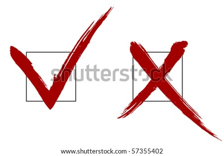 Brush vector check marks