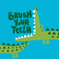 Brush your teeth! - funny hand drawn doodle, cartoon alligator / crocodile. Good for Poster or t-shirt textile graphic design. Vector hand drawn illustration.