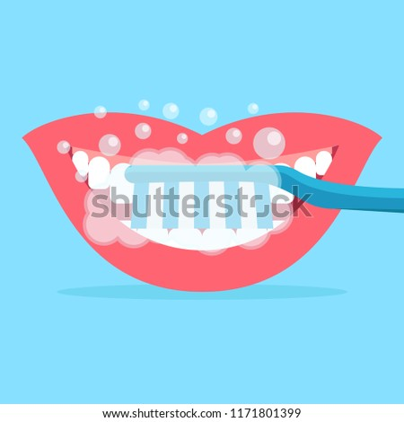 Brush your teeth, teeth and mouth, flat design vector illustration #1171801399