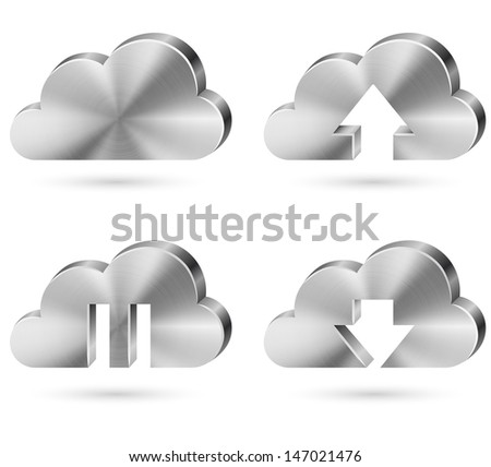 Brushed metal cloud icon vector set isolated on white background.