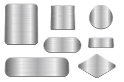 Brushed metal plates. Set of geometric shape plaques. Vector 3d illustration isolated on white background