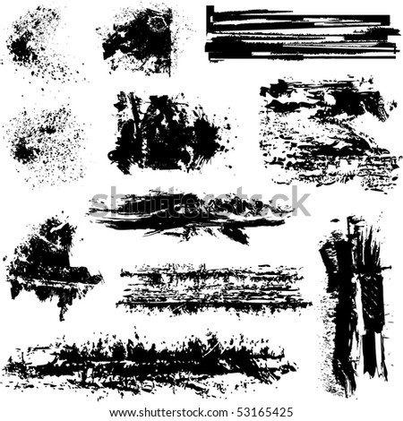 Brushes and other grunge elements vector