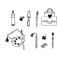 Brushes, paints, pencils, erasers vector graphic illustration, all for drawing and artists on white background.