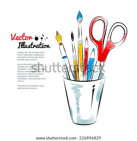Brushes, pen, pencils and scissors in holder. Hand drawn watercolor and line art. Vector illustration. isolated. Сток-фото ©