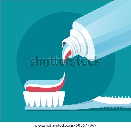 Brushing Teeth. Closeup of toothpaste coming out of a tube.  Teeth care concept. Flat vector illustration