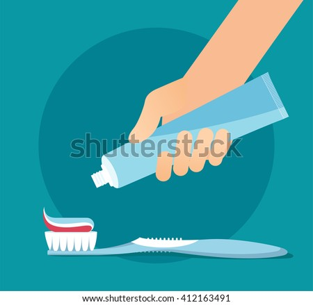 Brushing Teeth. Toothbrush and Toothpaste close up. Hand extrude a toothpaste from a tube on a toothbrush. Teeth care concept. Flat vector illustration eps 8 #412163491