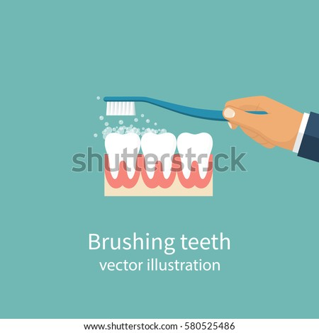 Brushing Teeth. Toothbrush hold in hand man. Dental care concept. Toothpaste bubbles foam. Oral hygiene. Vector illustration flat design. Isolated on background.