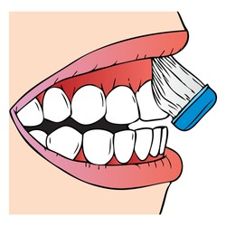 brushing teeth vector illustration, isolated on white background.top view