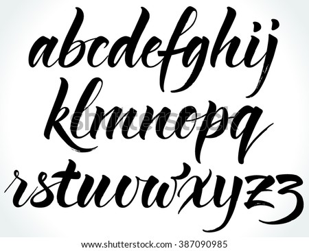 Brushpen alphabet. Modern calligraphy, handwritten letters. Vector illustration.