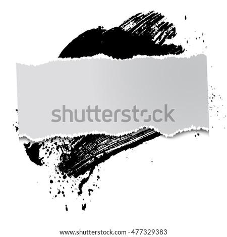 brushstroke and paper on a black background, illustration, clip-art #477329383