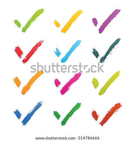 Brushstroke check mark sign isolated on white background. Green, yellow, violet, purple, red, magenta, blue, pink, orange, brown colors. This vector illustration clip-art element for design in 8 eps