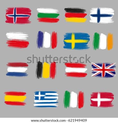 brushstroke european flags