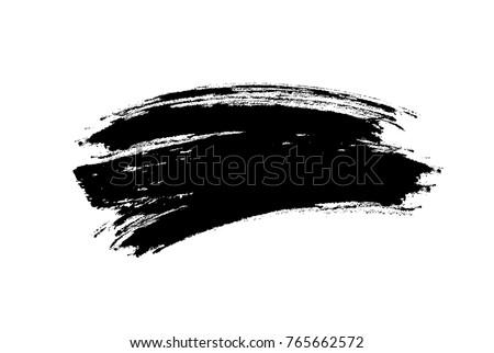 Brushstroke isolated on white background. Vector black blot brush, ink splash or smudge makeup texture swatch.