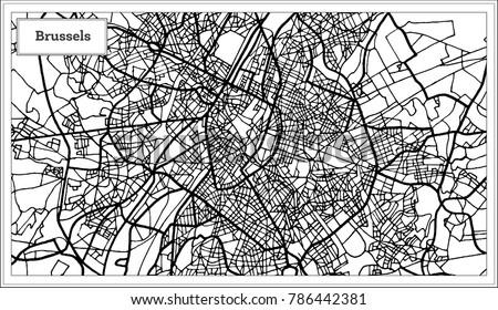 brussels belgium map in black...
