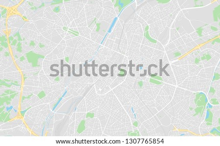 Brussels, Belgium, printable map, designed as a high quality background for high contrast icons and information in the foreground.