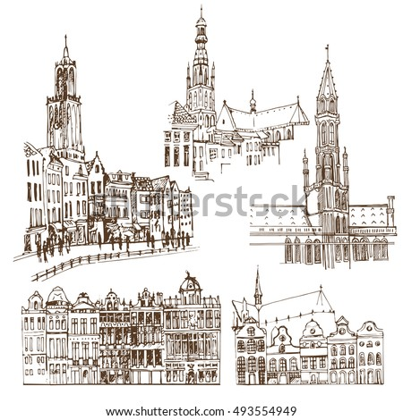 Brussels, Belgium. Vector sketch old town. Hand drawn public and religious buildings.