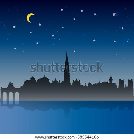 brussels city night scene