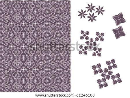 Brussels Lace with Purple Elements on a White Background