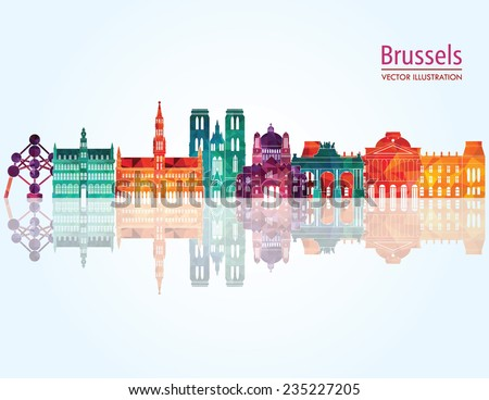 brussels skyline detailed