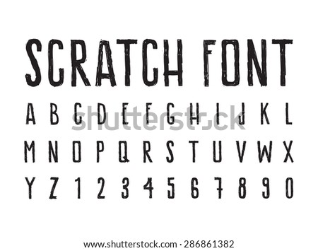scratched paint style alphabet download free vector art stock