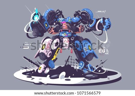 Brutal guy in combat exoskeleton. Robotic equipment controlled by man. Vector illustration