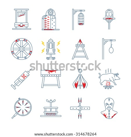 brutal torture device icon set