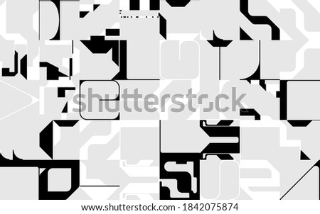 Brutalism art inspired abstract vector pattern made with simple geometric shapes and forms. Bold form graphic design, useful for web art, invitation cards, posters, prints, textile, backgrounds. Stock fotó ©