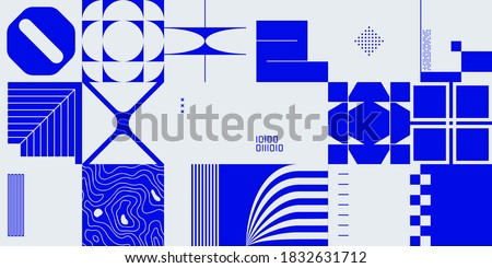 Brutalism design abstract vector pattern made with simple geometric shapes and forms. Bold graphics art, useful for web art, invitation cards, posters, prints, textile, backgrounds.