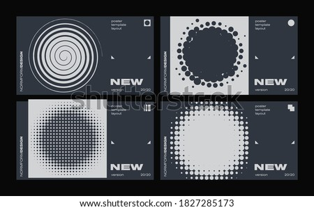 Brutalism inspired graphic design of vector poster cover layout made with vector abstract elements and geometric shapes, useful for poster art, website headers, front page design, decorative prints Stock fotó ©