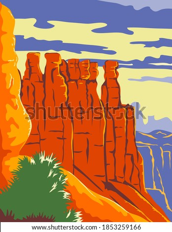 Bryce Canyon National Park in Paunsaugunt Plateau Garfield County and Kane County Utah WPA Poster Art Color Stock photo ©