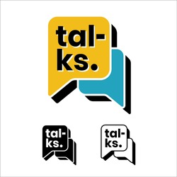 Bubble chat . Icon . chat . talks . talkshow . talk. Typography. Dynamic . event logo. This logo is suitable for event; bumper video logo; and others that require dynamic logos.