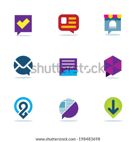 Bubble chat talk dialogue social network community logo icon set