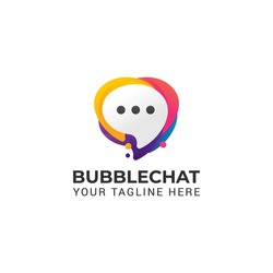 bubble chat, talk media colorful logo abstract shape icon illustration. Isolated on white background.