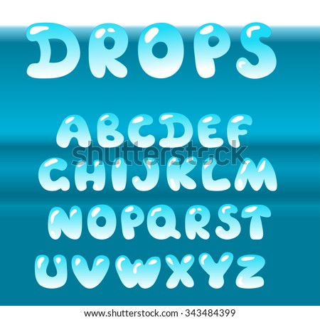 bubble letters vector set on blue water background