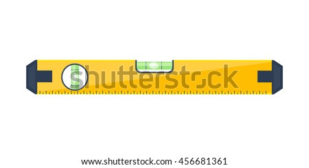 Bubble level tool in a flat style. Ruler. Building and engineering equipment. Measure. Vector illustration.