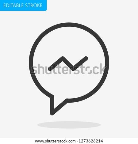 Bubble Message Editable Stroke.  Pixel Perfect. - Vector