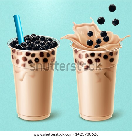 Bubble milk tea ads with delicious tapioca in 3d illustration