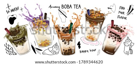 Bubble milk tea design collection,Pearl milk tea , Boba milk tea, Yummy drinks, coffees with doodle style banner,  Vector illustration.