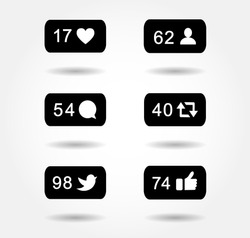 bubble notification icon set for following websites,blog, interfaces facebook twitter instagram. Vector illustration social media eps 10