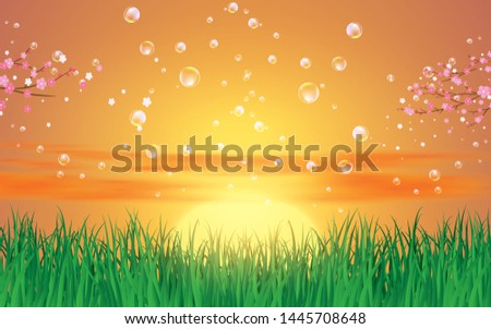 bubble on landscape of  green