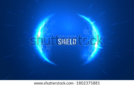 Bubble shield futuristic vector illustration on a blue background. Dome geometric in the form of an energy shield in an abstract glowing style. Cover concept in technological game style