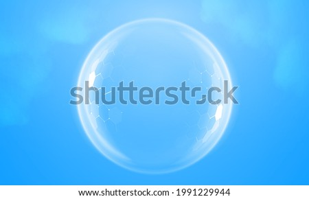 Bubble shield geometric vector illustration on a blue background. Dome shield futuristic for protection in an abstract glowing style