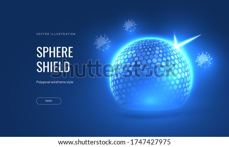 Bubble shield virus and infection protection vector illustration on a blue background. Template for protection and immunity in the form of an energy shield in an abstract glowing style