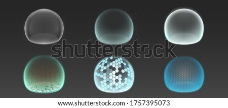 Bubble shields, protection force fields. Vector realistic set of safety energy barrier, security defence in transparent sphere with grid pattern isolated on gray background