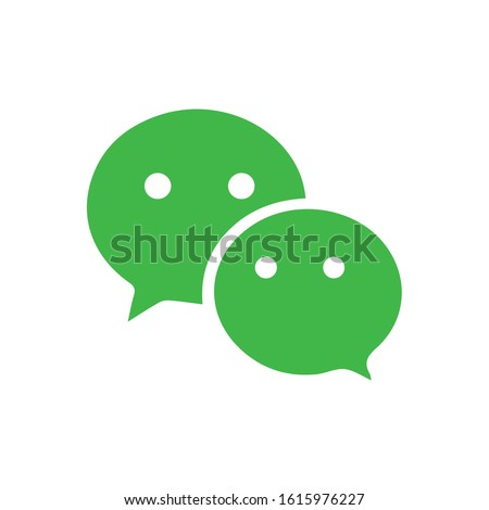 bubble speech communication app icon application vector isolated green color on white background for social media