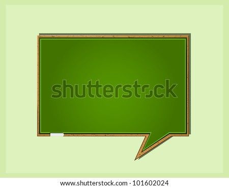 Bubble Speech in Form of Green Wooden School Blackboard. Vector Icon