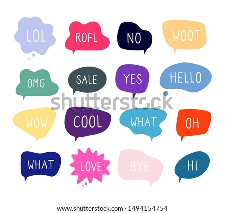 Bubble talk phrases. Online chat clouds with different words comments information shapes vector